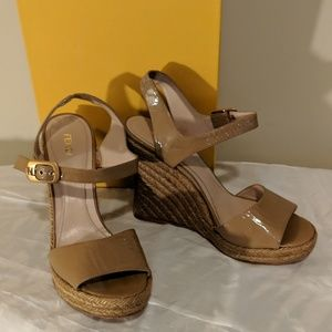 8ed49a5875c9b Fendi patent learher wedge sandals size 40 NWB